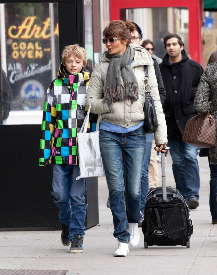 Helena Christensen and son Mingus Lucien Reedus seen strolling through Greenwich Village on a balmy winter's day-NYC